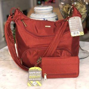 Travelon red ballistic nylon bag & wallet NWT 😎